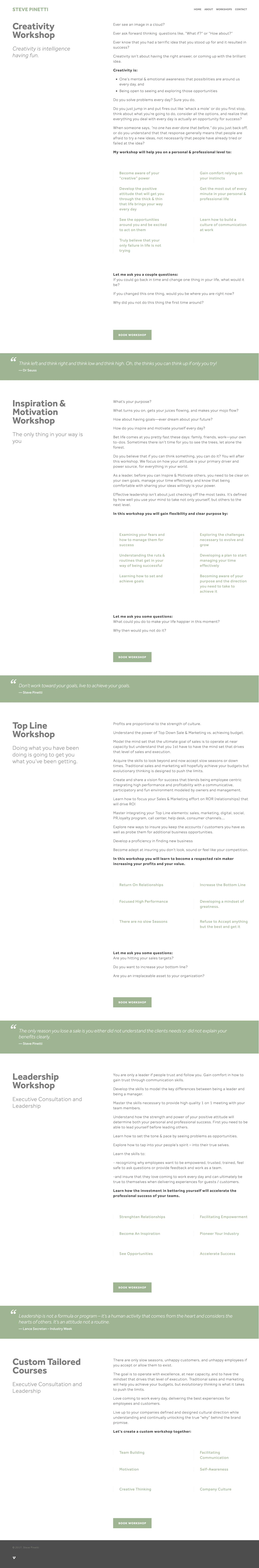 All available Workshops