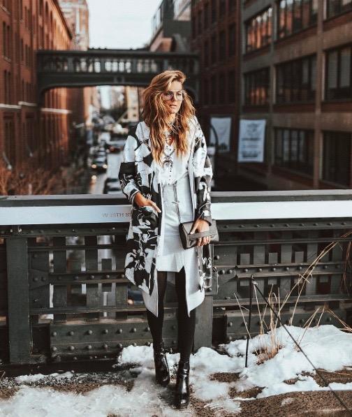 @tezzamb / Tessa Wearing Prefall17 Coat & Skirt