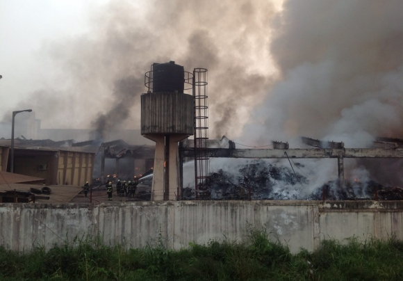 Scenes of the devastating fire at the Central Medical Store in Tema, Ghana