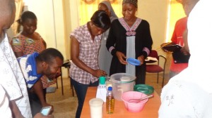 Trainees at the recent malnutrition training at the Lawra District Hospital learning how to prepare therapeutic food