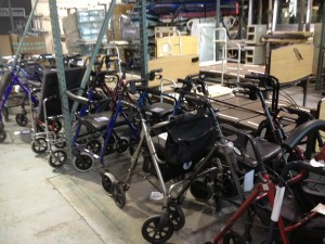 Wheelchairs and walkers for the Upper East Regional container