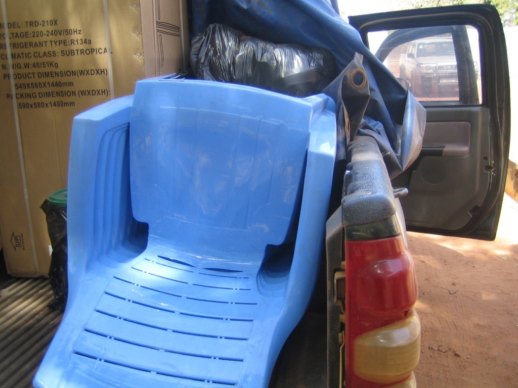 Plastic chairs for the Nutrition Center.
