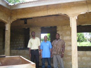 Our In Country Director Ackom (center), Dr. Sandaare of the Lawra District Hospital (left), and a member of the Tamale Rotary Club (right)
