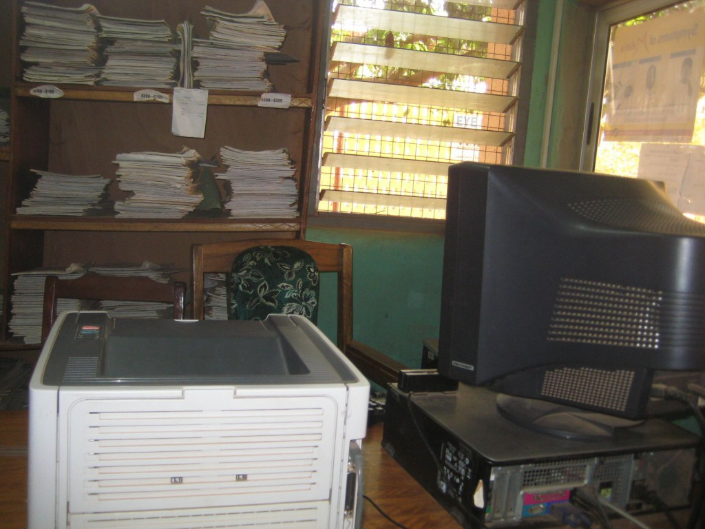 Donated Computer & Printer Being Used in Records Room