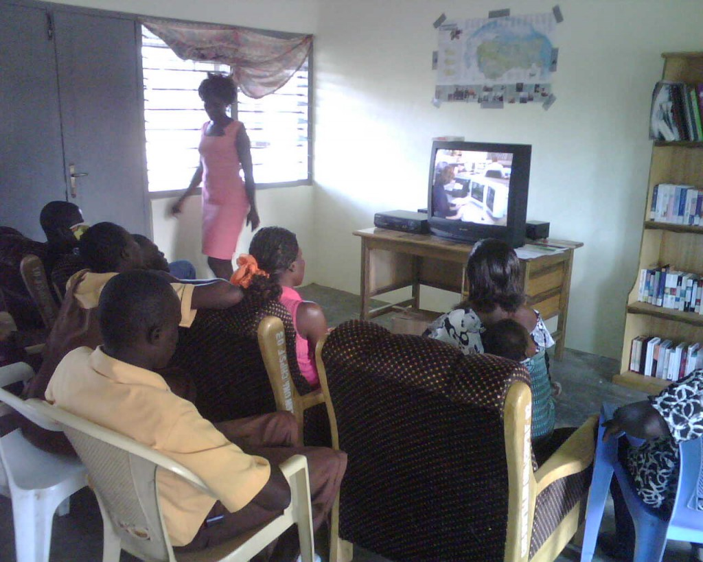 Community Members Watch Health Education Video