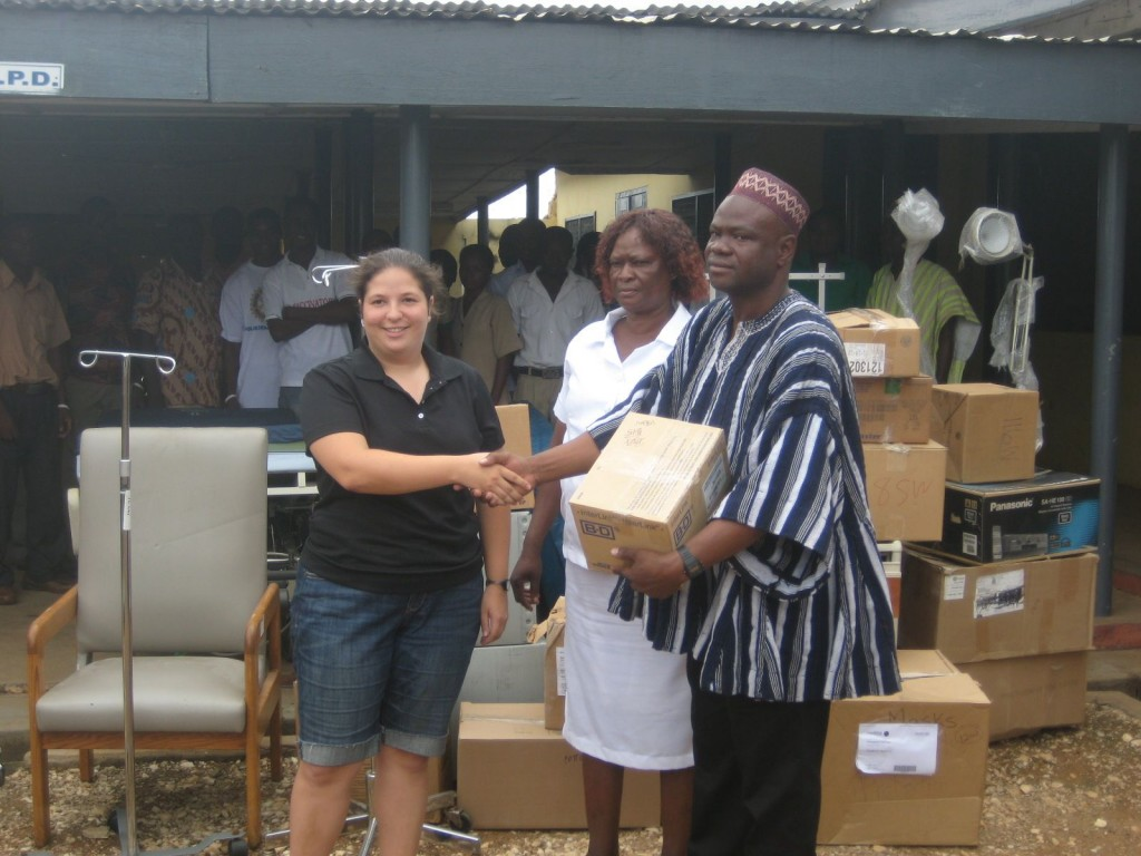 Presenting the Supplies to the District Chief Executive of Wechiau