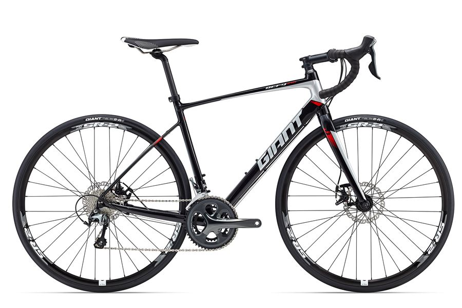 Giant Defy 2 Disc - Sale Price $1,049.99 (Regular Price $1,200.00)Aluminum frame, carbon fork, Shimano Tiagra 2 x 10 speed shifting, mechanical disc brakes, Giant SR-2 disc wheelset.Available Sizes: M/L (~57cm)