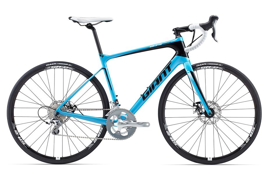 Giant Defy Advanced 3 - Sale Price $1,599.99 (Regular Price $1,750.00)Carbon frame & fork, Shimano Tiagra 2 x 10 speed shifting, mechanical disc brakes, Giant SR-2 disc wheelset.Available Sizes: Medium