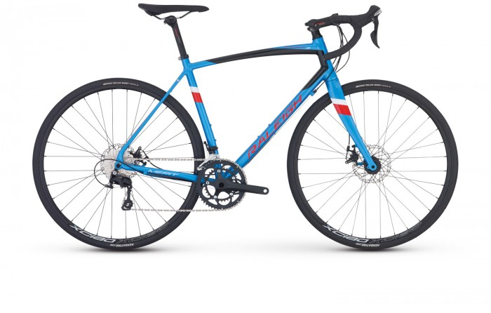 Raleigh Merit 3 - Sale Price $1,099.99 (Regular Price $1,249.00)Aluminum frame, carbon fork, Shimano 105 2 x 11 speed shifting, TRP Spyre-C mechanical disc brakes.Available Sizes: 56cm