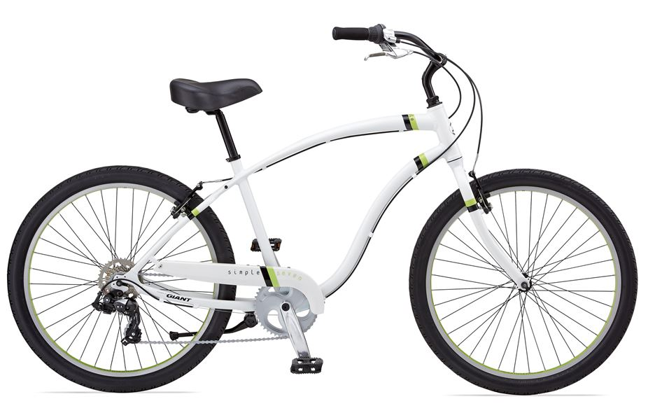 Giant Simple Seven - Sale Price $349.99 (Regular Price $430.00)Aluminum frame, chromoly steel fork, Shimano grip shift style 1 x 7 speed shifting, includes match gin chain guard.Sizes Available: ONE SIZE