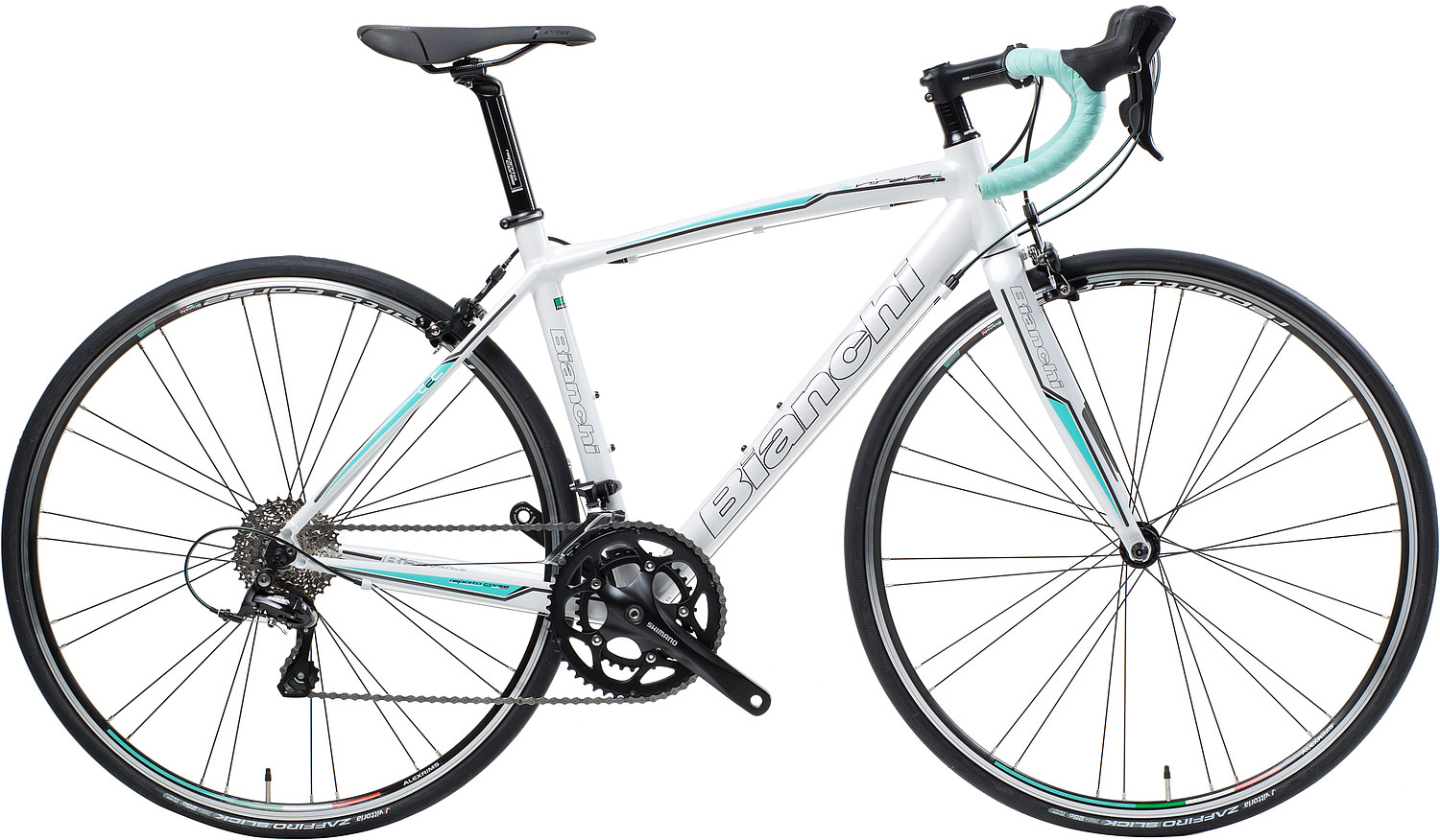 Bianchi Via Nirone Dama Sora - Sale Price $899.99 (Regular Price $969.99)Triple-butted hydroformed aluminum frame, carbon fork, Shimano Sora 3 x 9 speed shifting, Reparto Corse caliper brakes.Available Sizes: 44cm, 46cm, 50cm