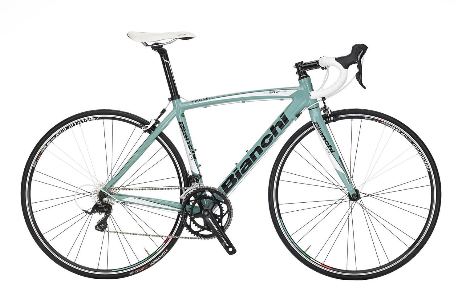 Bianchi Via Nirone Dama Sora - Sale Price $899.99 (Regular Price $969.99)Triple-butted hydroformed aluminum frame, carbon fork, Shimano Sora 2 x 9 speed shifting, Reparto Corse caliper brakes.Available Sizes: 46cm