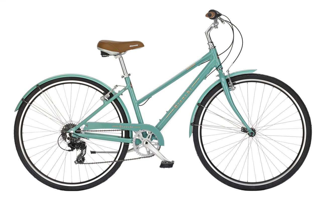 Bianchi Milano Dama - Sale Price $499.99 (Regular Price $530.0)Aluminum frame, steel fork, Shimano twist style 8 speed shifting, includes matching chain guard and fenders.Available Sizes & Colors: Celeste (shown) - 42cm   Blue - 38cm, 42cm   Cream - 38cm, 42cm