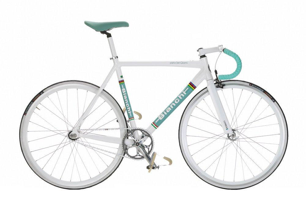 Bianchi Pista Sei Giorni - Sale Price $789.99 (Regular Price $999.99)Aluminum frame, carbon fork, Truvativ Touro Track 1.1 crank (48T chaingring), 16T Shimano SS-7600 fixed cog, Pistal steel track handlebar, celeste suede saddle.Available Sizes: 51cm