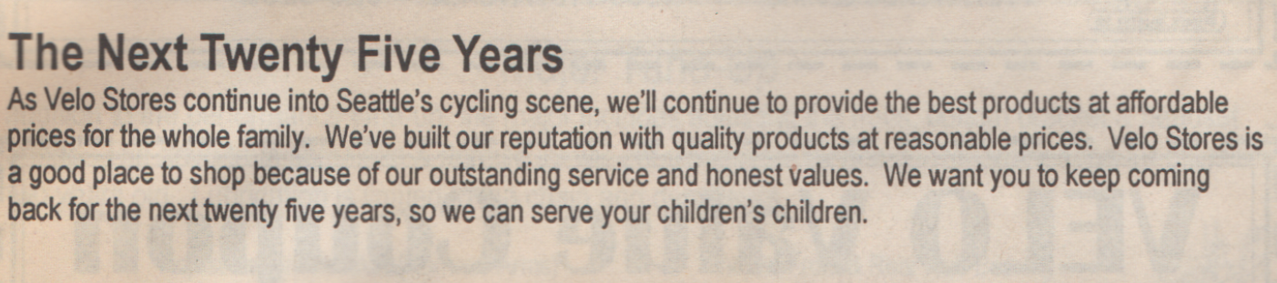 Excerpt from 1993 25th Anniversary Flyer