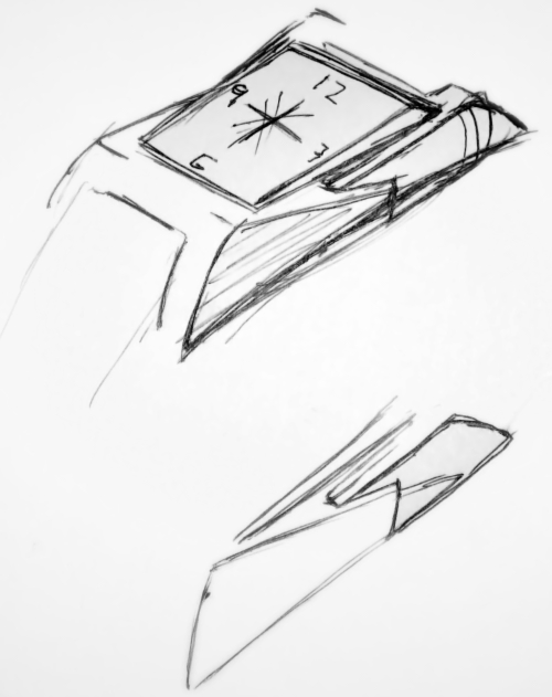 First pen sketch of the bespoke Keating watch