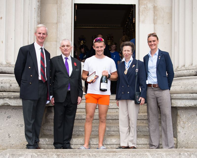 HRH The Princess Royal with race winner Jack Keech, receiving his watch (centre), presented by Paul Pinchbeck (2nd from left).