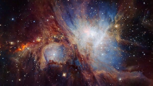 The Orion Nebula, a stellar nursery.  (Credit: ESO/H. Drass et al.)