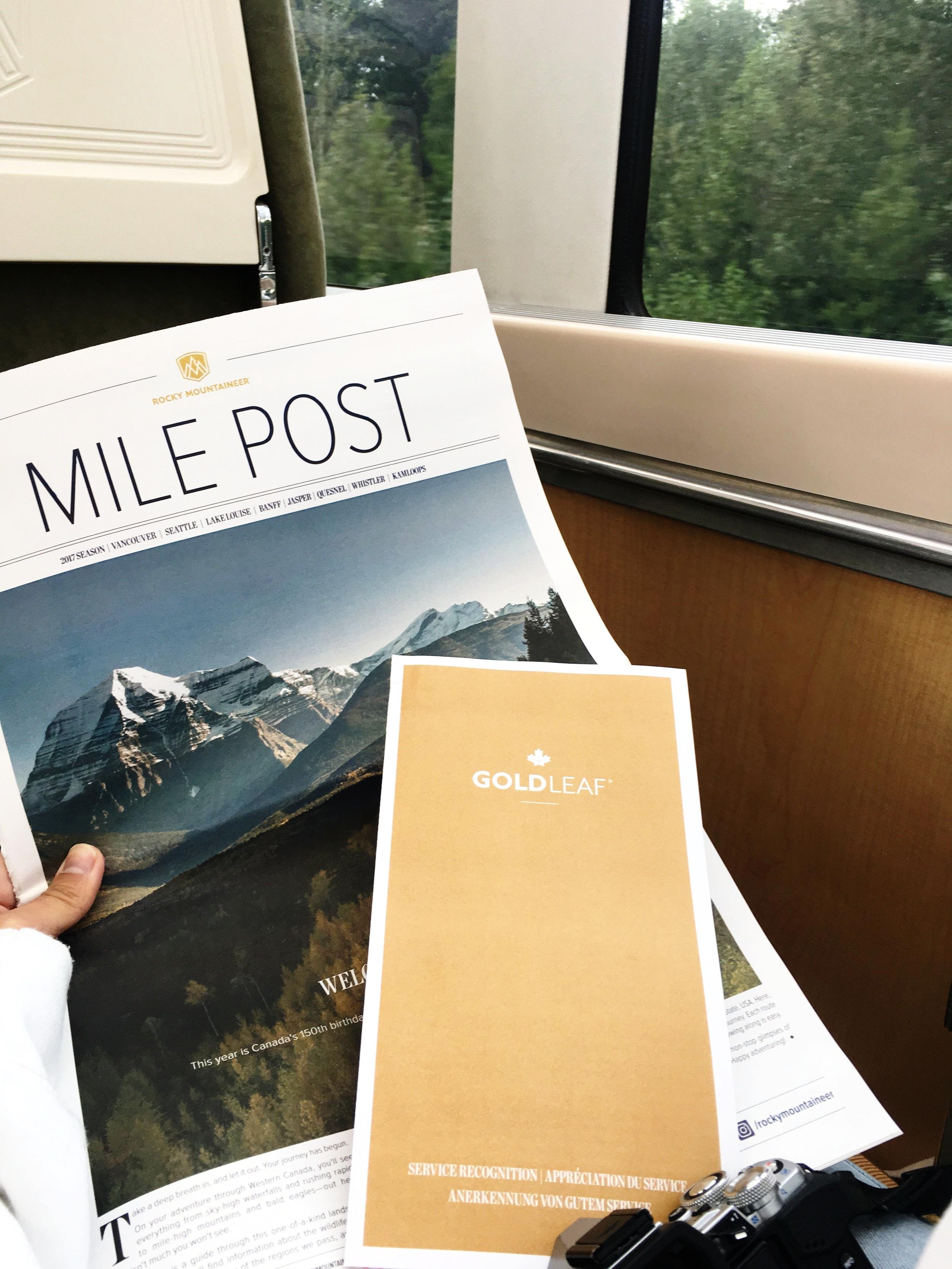 在座位前方會有這份報紙,備有詳細資訊,可找到這次搭乘的路線,會有途經的詳細介紹,挺有意思的!