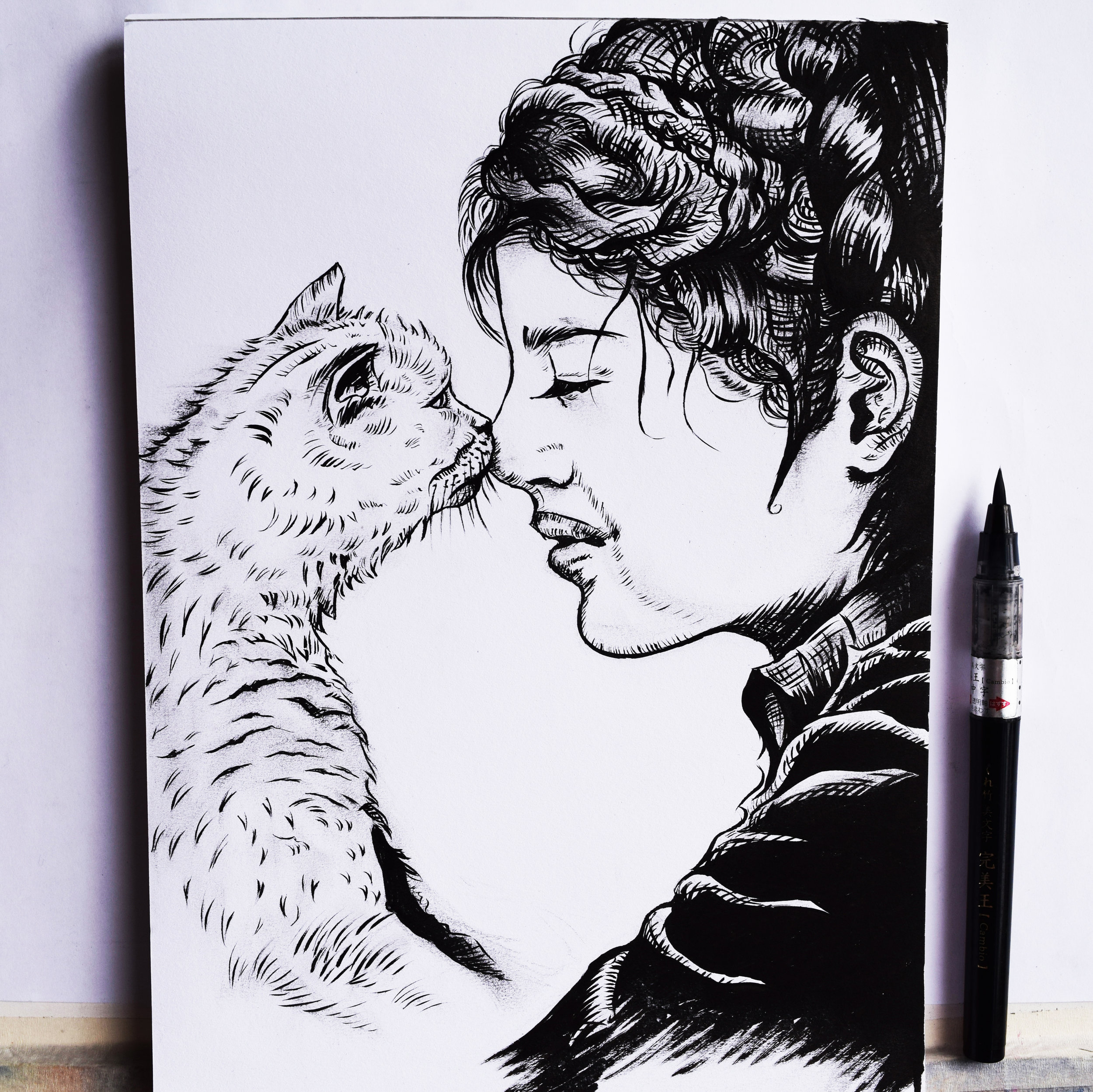 'Love For Animals' - A4 Original Ink Drawing on paper.