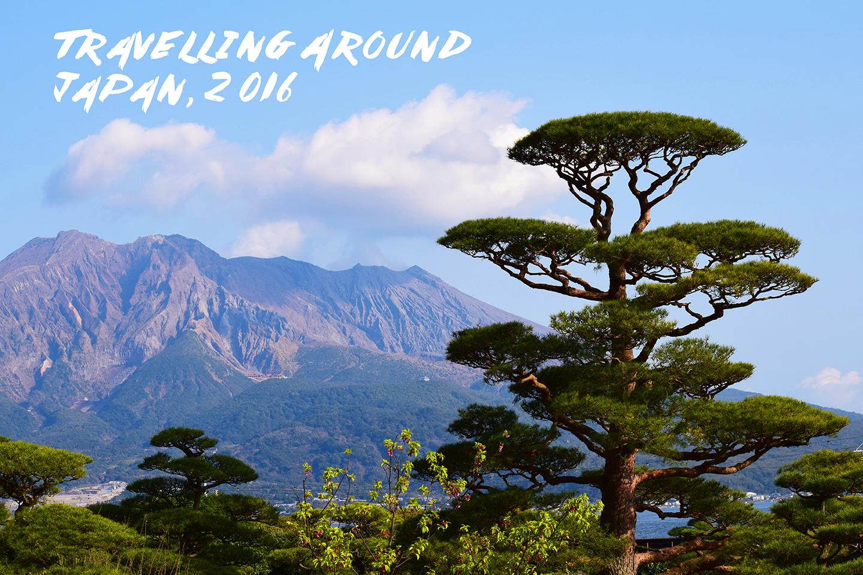 This is a photo I took looking at the active volcano Sakurajima, in the Sengan-en gardens, Kagoshima, Kyushu, southern Japan.
