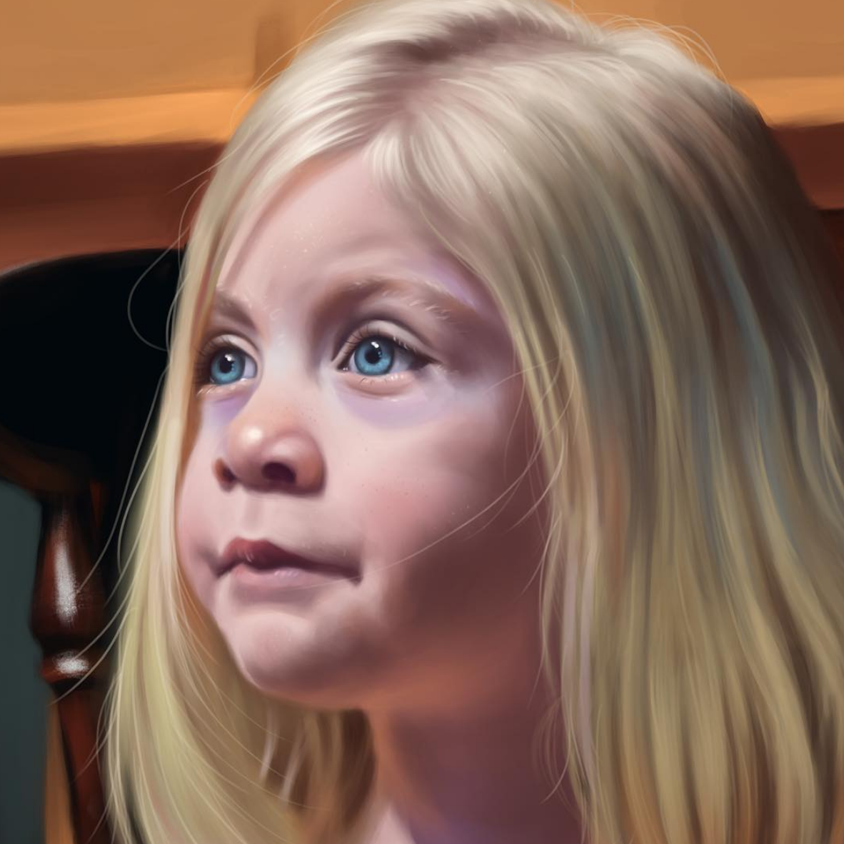 Above image; My 'Essentials of Realism' Digital colour portrait.    This was one of my final online assessments where I had to paint a realistic portrait from the reference provided (the teacher's daughter). This took me 60+ hours, but I was very happy with the result at the end, and surprised myself.
