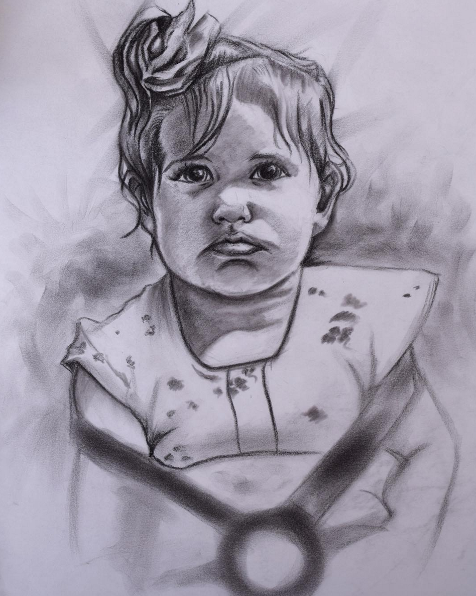 Above image; 'Penelope' Charcoal drawing of my 1 year old niece in England.