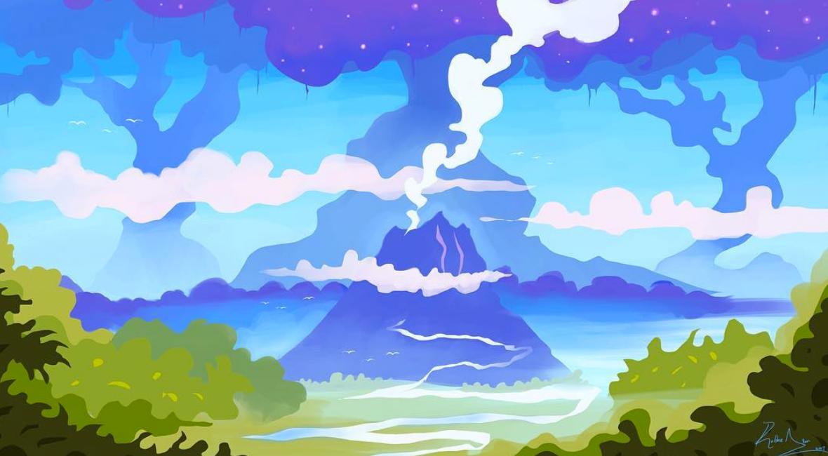 Above image; 'Lost Landscape' - A digital illustration by me of a fantasy scene, a lost landscape.