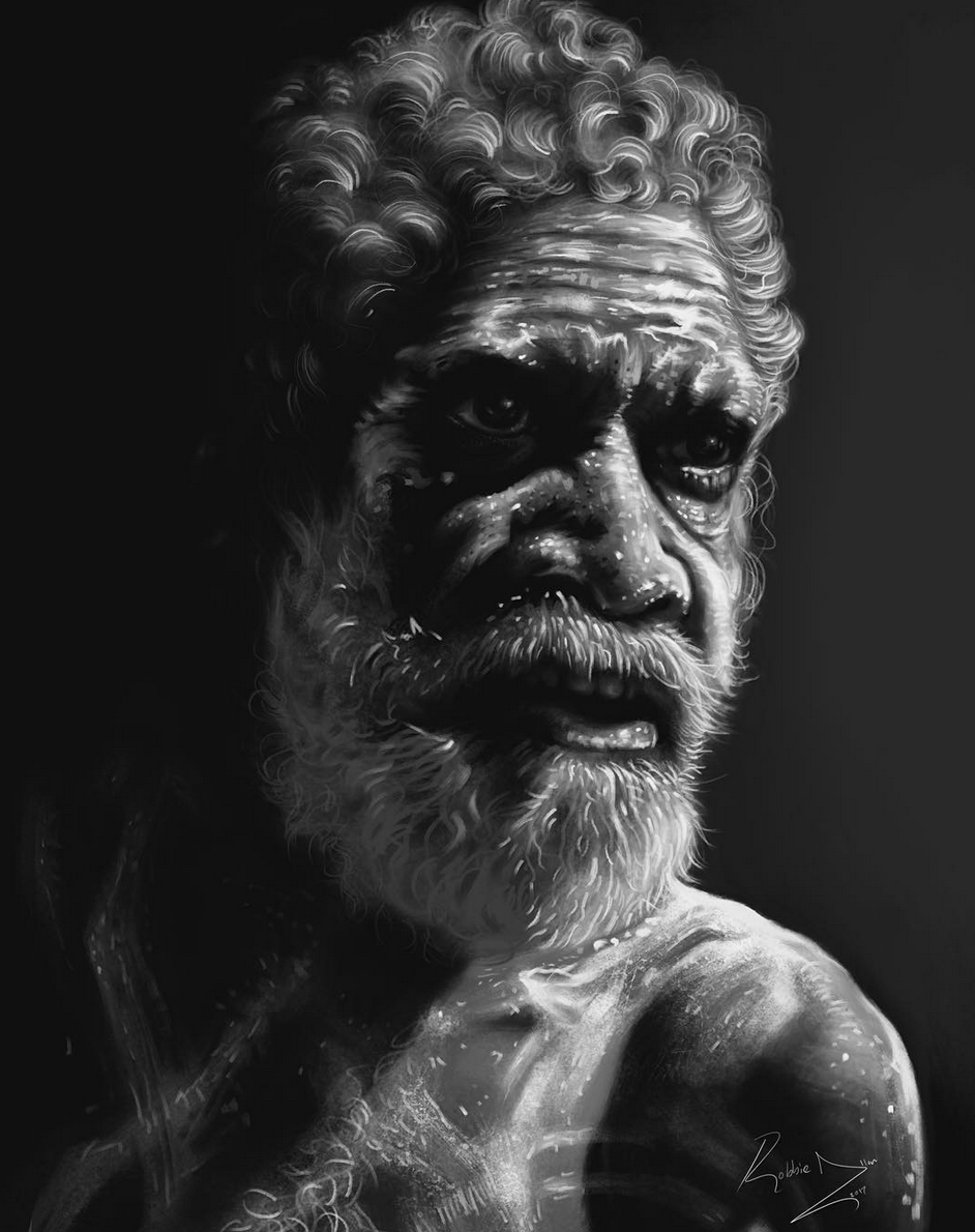 Above image; 'Ancestor Of The Land' This is my latest portrait study of an Australian Aboriginal man.