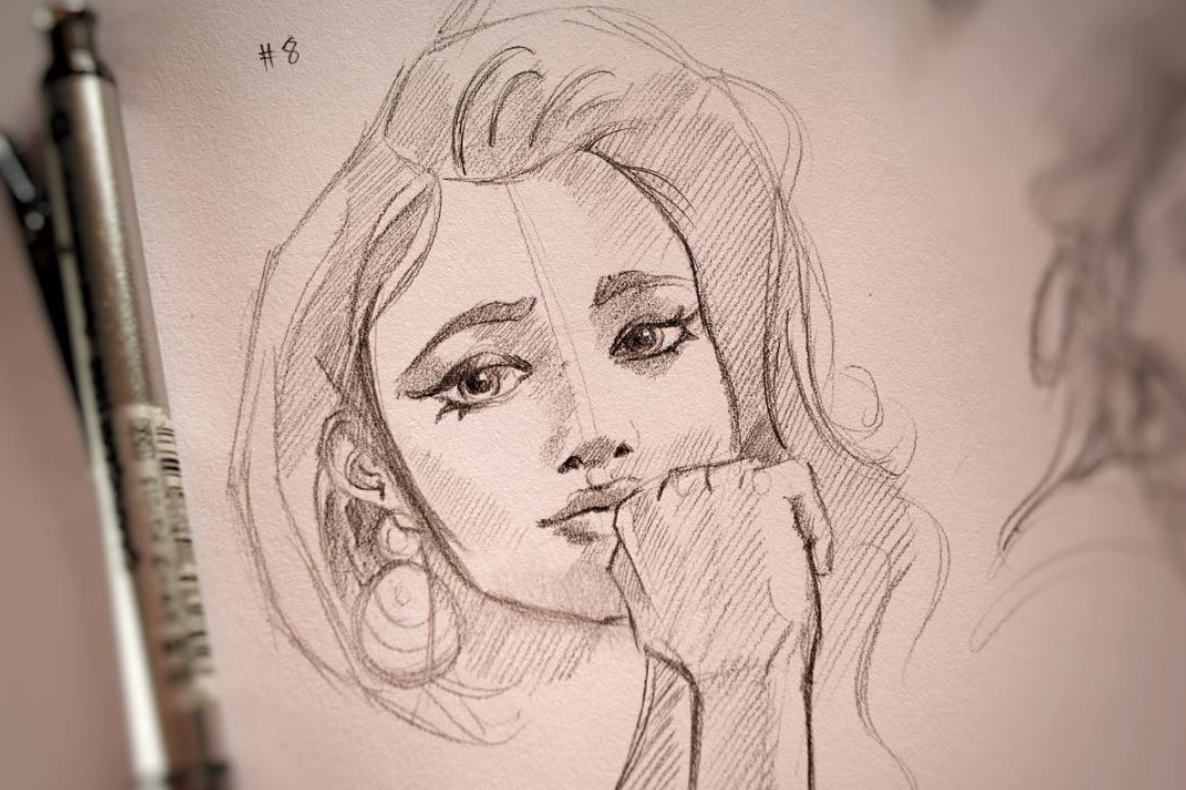 Above image; 'Just Wondering' My pencil sketch on paper.