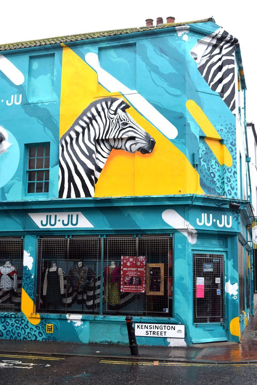 Above image;    Mural Art on a shop on Kensington Street.