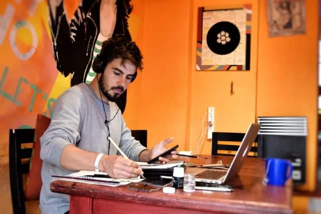 Photo of me working in the 'Play Hostel' in Palermo, Buenos Aires