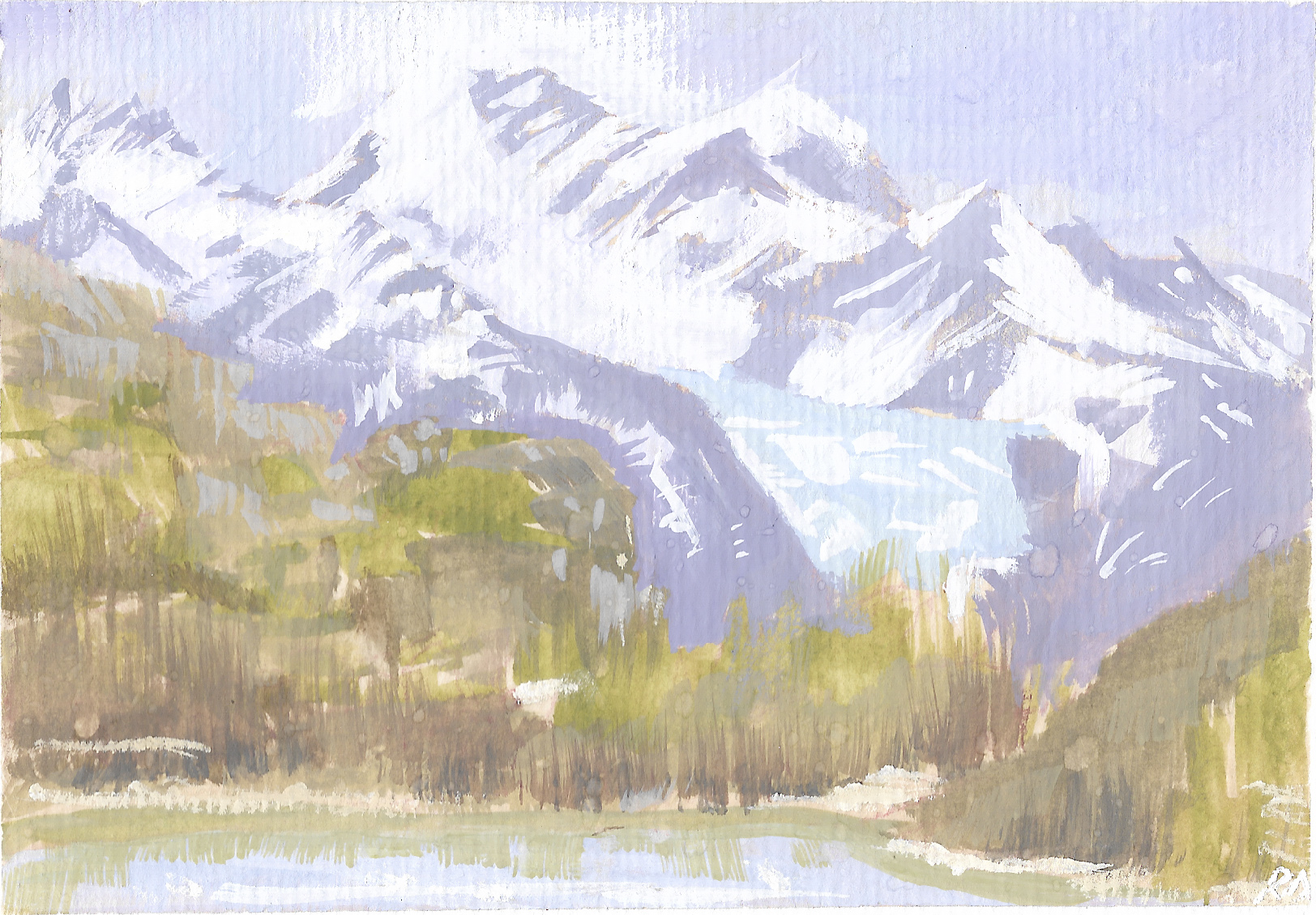 One of my recent plein air (outdoor) paintings in El Chaltén, Patagonia, Argentina. It was freezing cold, and it had started to rain, but I was determined to get a quick study down.
