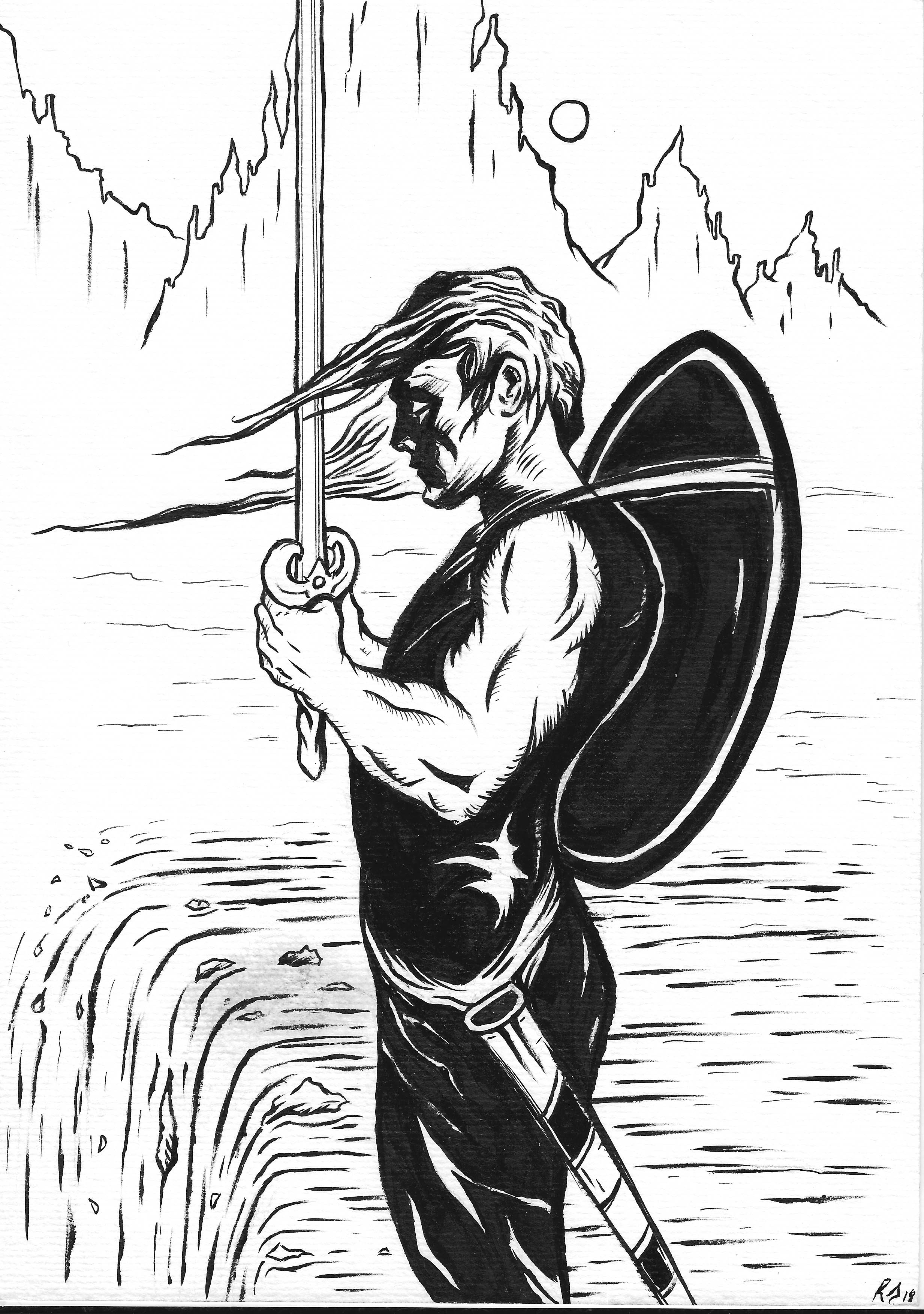 'True To His Path' My Ink Illustration of my warrior character which I created travelling around Patagonia.