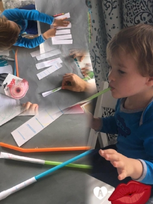 """Rocket Straw s 🚀 Materials Needed: Straws, light weight paper, crayons, scissors, and tape.   Cut paper into 2"""" by 4"""" strips. Decorate with color. Roll paper longways around straw and tape.  Fold the top of the paper tube down and tape.  Put paper tube on straw and blow!"""