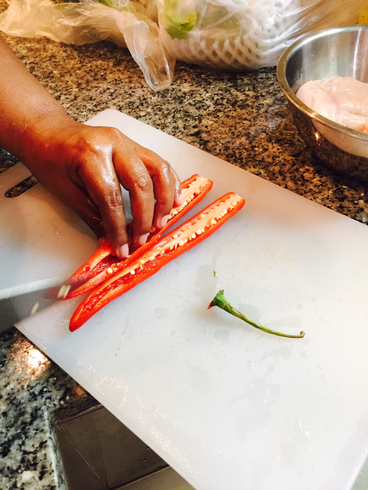 Be sure to remove those seed & inner bits of the fresh chilli