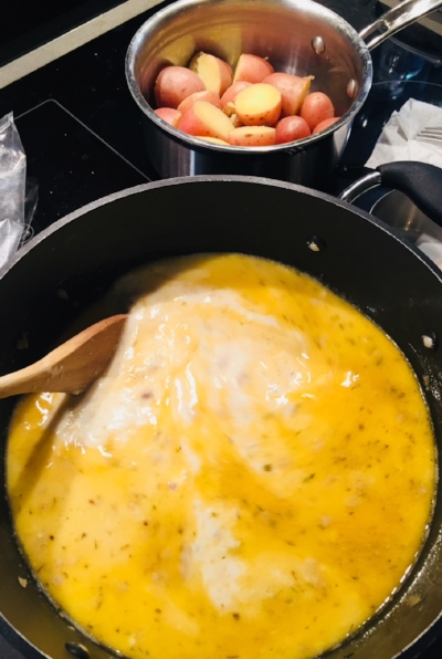 Chicken Stock, Cream & Milk added - now simmer (potatoes drained & ready to add later)