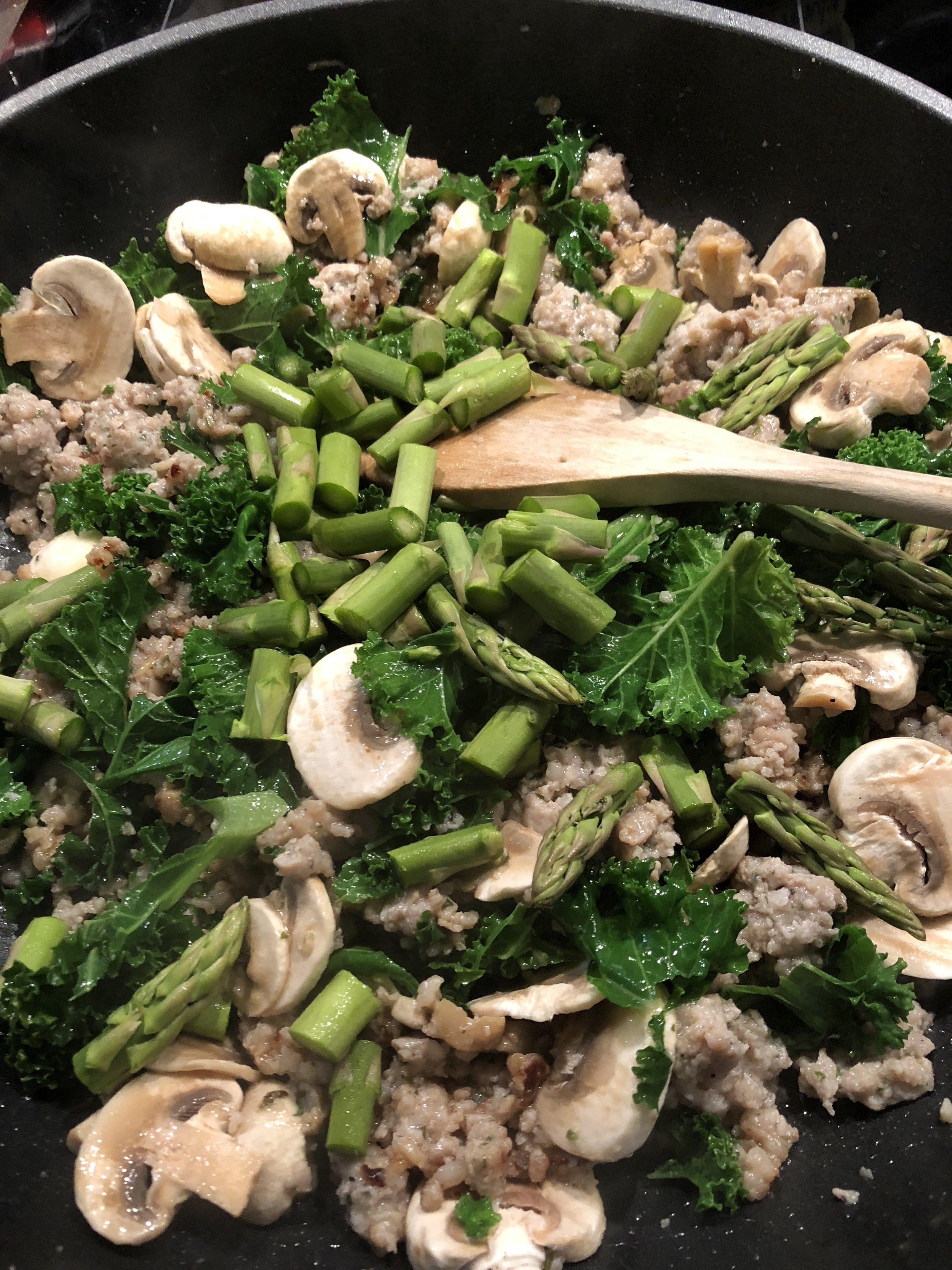 Add Kale, Mushrooms & Asparagus