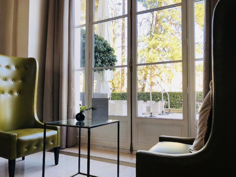 Anytime of day tea, drink or meal - a quiet seat near the lobby with a peaceful view of the hotel's courtyard