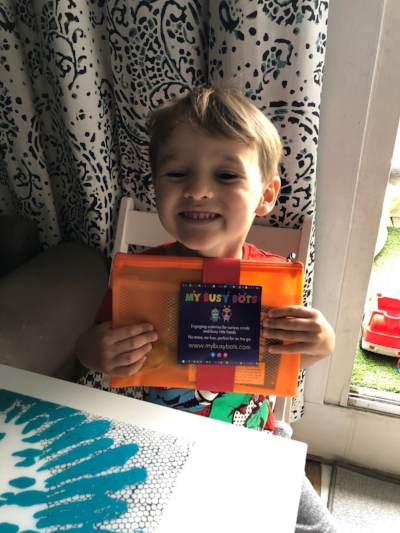 Tristan excited to open his 'Are we there yet' package
