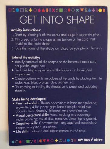 'Get into Shape' instructions example