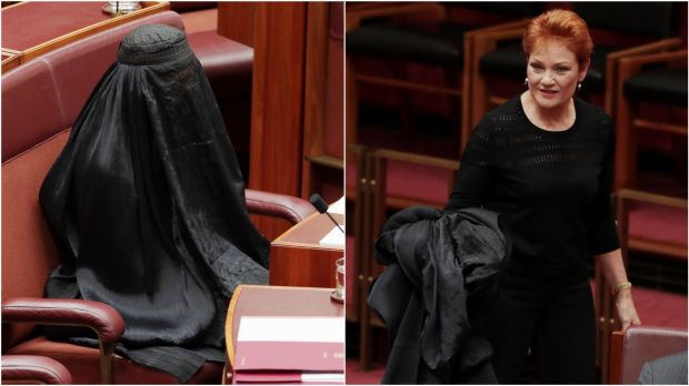 In a race to the bottom One Nation's Pauline Hanson outdid herself by appearing in the Senate in a burqa, or full body-covering, to mock the religion of 5 per cent of Australians. Photo: Andrew Meares