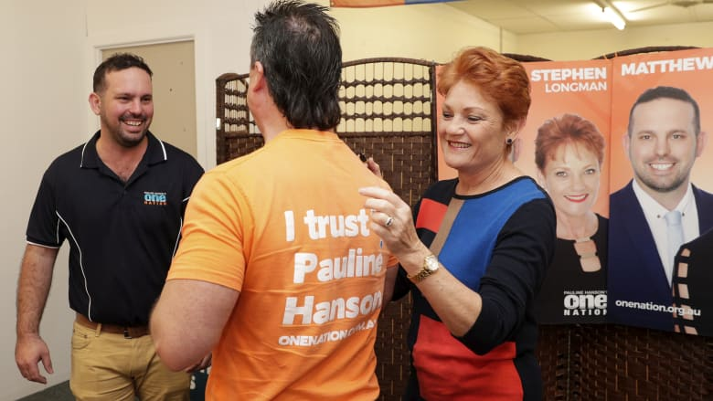 One Nation supporter Paul Henselim has his campaign T-shirt signed by Pauline Hanson in Caboolture, Queensland. Photo: Alex Ellinghausen