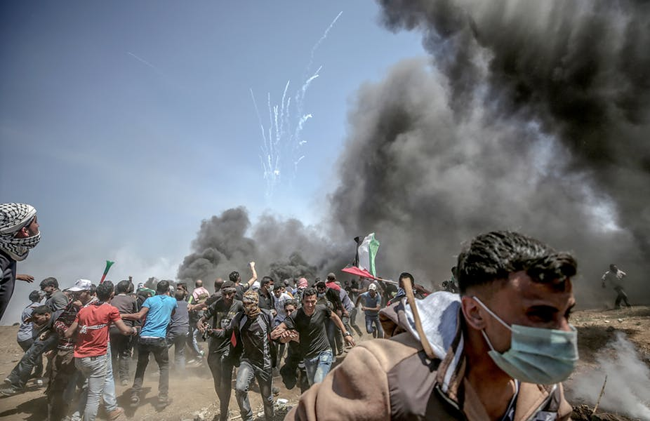 Israeli fire on Palestinian protesters at the Gaza border on Monday resulted in at least 58 deaths. Mohammed Saber/EPA