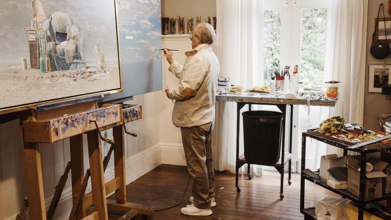 Storrier working in his Bowral studio. Photo: James Brickwood