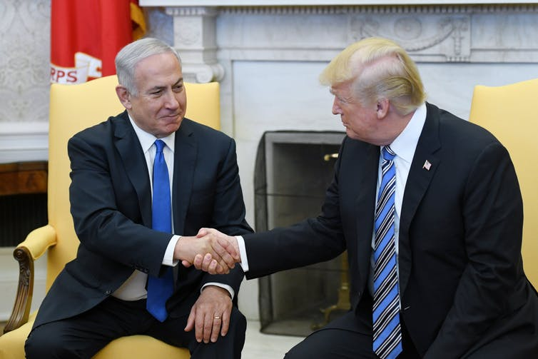 US President Donald Trump, here with Israeli Prime Minister Benjamin Netanyahu, has promised the 'deal of the century' in the Middle East, but the details have not yet been made clear. AAP/ Olivier Douliery/pool
