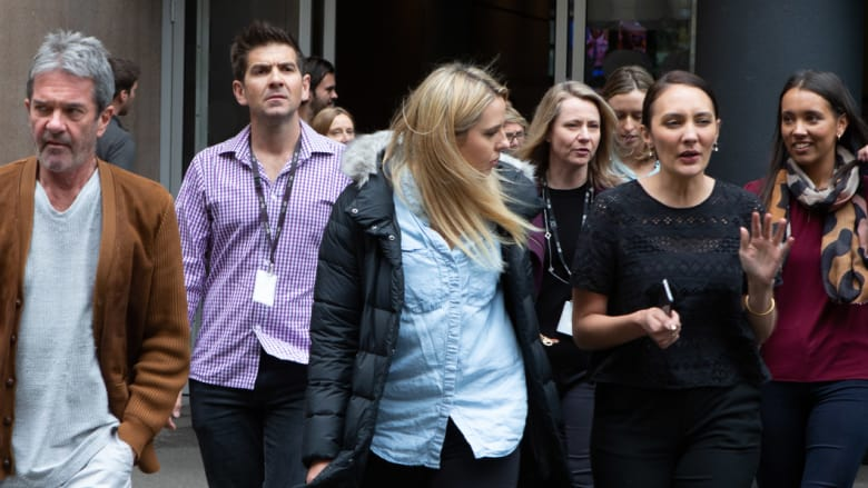ABC staff walk out in protest over chairman Justin Milne's attempt to sack journalist Emma Alberici. Photo: David Porter