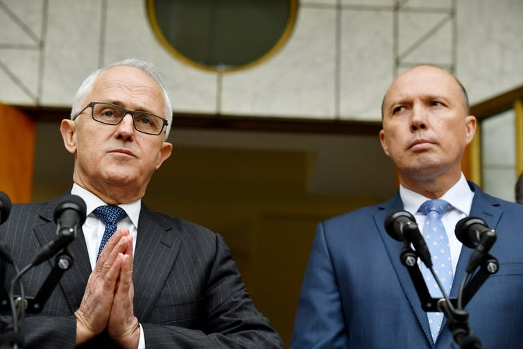 Former prime minister Malcolm Turnbull appointed Peter Dutton to the head of the new home affairs super portfolio in July 2017, to sure up his 'Praetorian guard' on the right. That it did not work out well. - AAP/Mick Tsakis