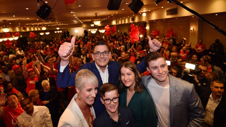 Premier Daniel Andrews and his family — son Noah, 16, wife Cath, daughter Grace, 14, and son Joseph, 11. Photo:Joe Armao
