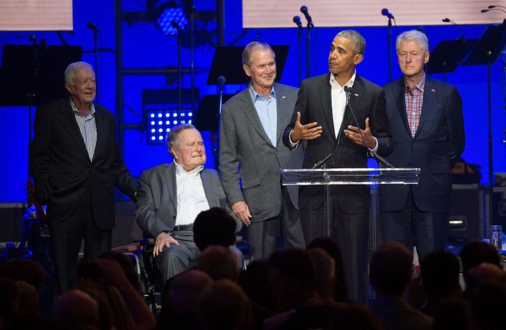 The former presidents together, 21 October 2017 (Photo: Jim Chapin)